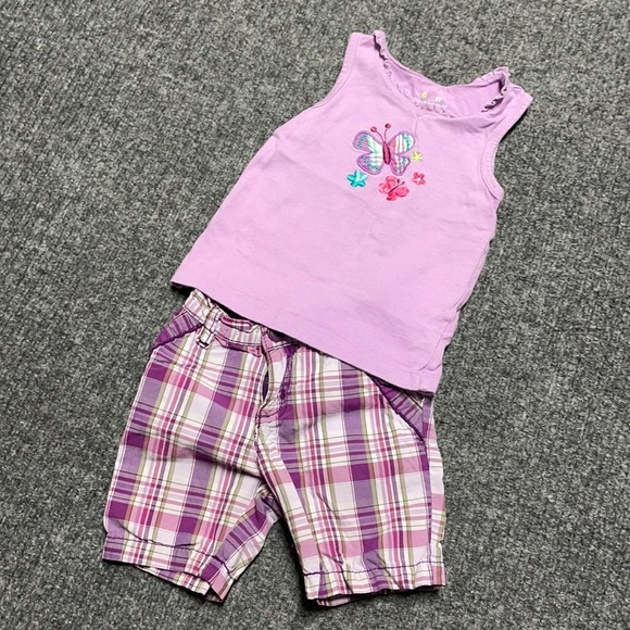 Purple tank & shorts girl's matching outfit 24m